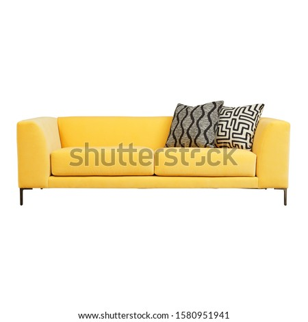 Yellow Sofa Isolated on White. Two Seater Couch with Two Accent Scatter Pillows & Large Bolster Cushions. Mid Back Sofa. Front View of Upholstered Linen Loveseat with Armrests and Seat Cushion #1580951941