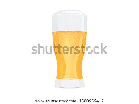 Full glass of beer illustration. Fresh lager icon. Glass of beer illustration. Glass of beer isolated on white background