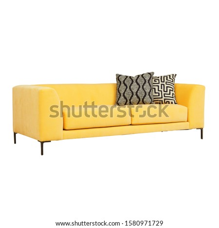 Yellow Sofa Isolated on White. Two Seater Couch with Two Accent Scatter Pillows & Large Bolster Cushions. Mid Back Sofa. Front Side View of Upholstered Linen Loveseat with Armrests and Seat Cushion #1580971729