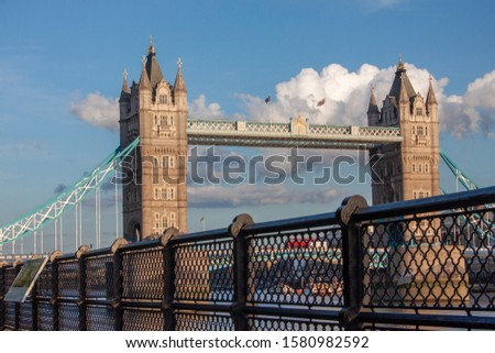 London Tower bridge over the River Thames general view with a handrail in the foreground. London famous monuments and places. #1580982592