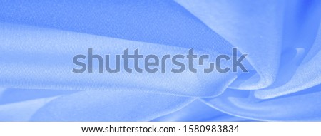 Texture, background, pattern, silk blue fabric. Crepe satin on the back is an excellent fabric for design, on the one hand it has a satin finish, and on the other - crepe, which makes it reversible, #1580983834