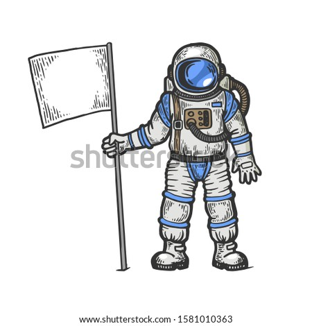 Astronaut spaceman with flag sketch engraving raster illustration. T-shirt apparel print design. Scratch board style imitation. Black and white hand drawn image.