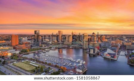 Baltimore, Maryland, USA Inner Harbor Skyline Aerial. Royalty-Free Stock Photo #1581058867