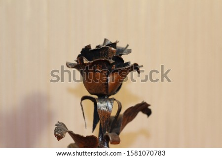forged copper rose on beige background #1581070783