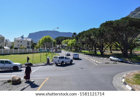 Hout Bay, Cape Town, South Africa - September 6 2019: Buildings and streets of Hout Bay region of Cape Town near Chapman's peak. Western Cape #1581121714