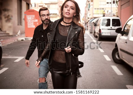 young woman and young man street story punks #1581169222