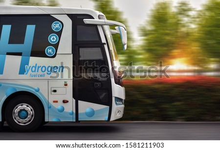 Hydrogen Fuel cell bus with zero emissions #1581211903