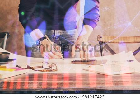 FOREX chart multi exposure with businessman office on background. #1581217423