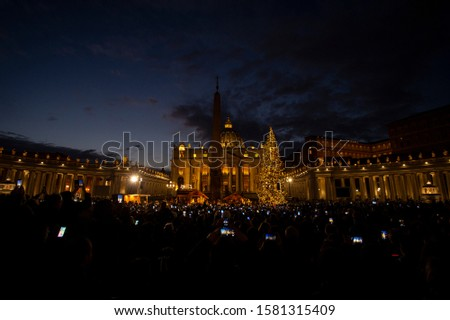 Vatican City, December 05, 2019: During the inauguration of the Vatican's Christmas tree and crib in St. Peter's Square at the Vatican. #1581315409