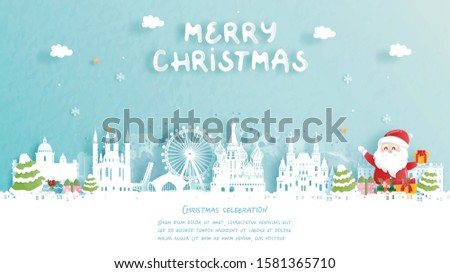 Christmas card with travel to Moscow, Russia concept. Cute Santa and gift boxes. World famous landmark in paper cut style vector illustration. #1581365710