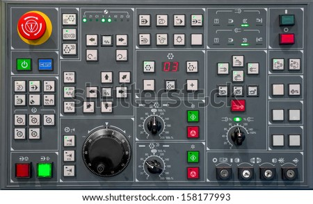 Control panel texture with lots of buttons Royalty-Free Stock Photo #158177993