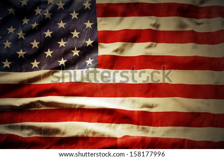 Closeup of grunge American flag Royalty-Free Stock Photo #158177996