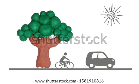 Clay tree icon with man riding bicycle, a car transport and sketchy sun icon  #1581910816