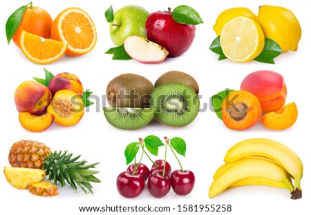 collection of fresh fruits isolated on white background. fruit collage. #1581955258