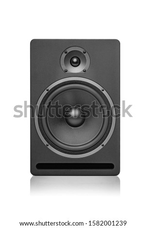 Black speaker isolated on a white background. #1582001239