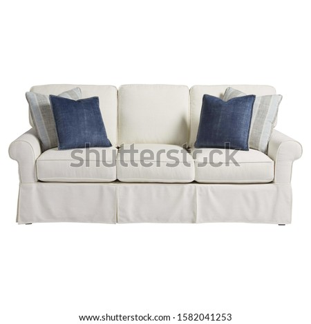 Sofa Couch Isolated on White. Three Seater Couch with 4 Accent Scatter Pillows & Large Bolster Cushions. Mid Back Sofa. Front View of Upholstered Gray Linen Loveseat with Armrests and Seat Cushion #1582041253