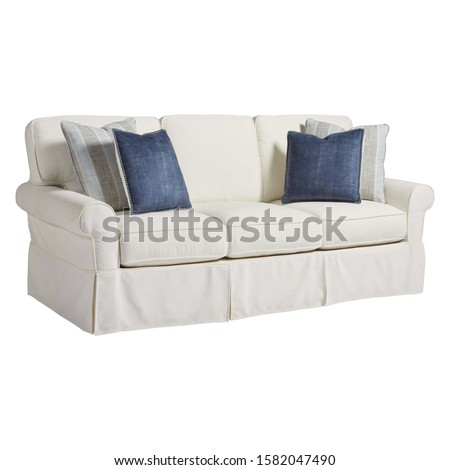 Sofa Couch Isolated on White. Three Seater Couch with 4 Accent Scatter Pillows & Large Bolster Cushions. Mid Back Sofa. Side View of Upholstered Gray Linen Loveseat with Armrests and Seat Cushion #1582047490