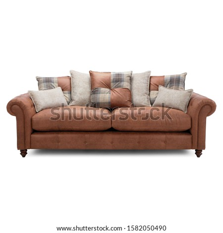 Brown Leather 4 Seater Sofa Sofa Couch Isolated on White. Three Seater Couch with Accent Scatter Pillows & Large Bolster Cushions. Front View Upholstered Mid Back Loveseat with Armrests & Seat Cushion #1582050490