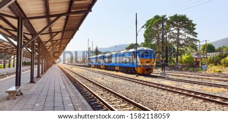 Provincial Railway Station Tourist destination Many railways are connected.The train is landing at the platform.One type of transportation in ASEAN countries. #1582118059