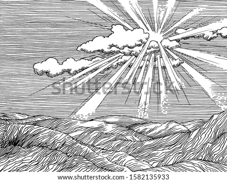Rays of light of the sun through the clouds. Decorative drawing. Pen and ink retro classic engraving style illustration.