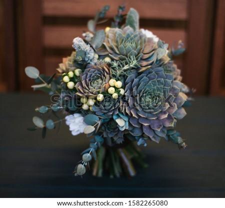 The bride's bouquet,  Wedding bouquet, Bouquet of succulents #1582265080