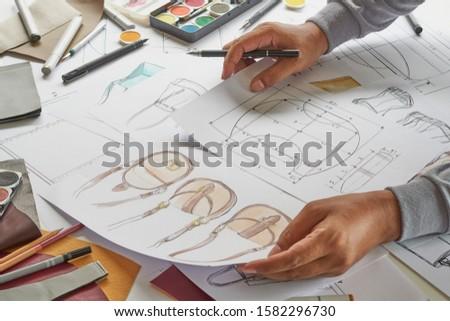 Designer stylish sketch Drawn design template pattern made leather clutch bag handbag purse Woman female Fashionable Fashion Luxury Elegant accessory.                                #1582296730