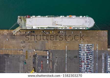 large vessels for transportation of cars import export by the sea at laem chabang Thailand aerial view #1582303270