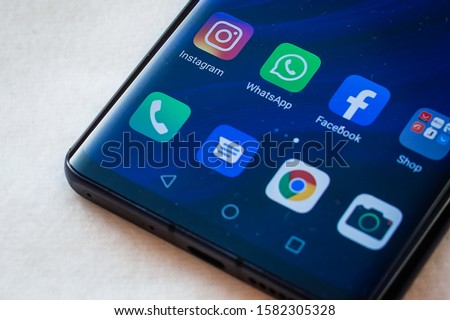 The apps of social media networks Facebook, WhatsApp and Instagram are displayed on smartphone Huawei P30pro Kyiv, Ukraine - Desember 08, 2019 #1582305328