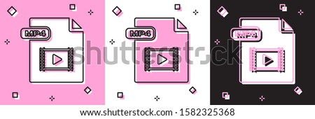 Set MP4 file document. Download mp4 button icon isolated on pink and white, black background. MP4 file symbol.  Vector Illustration