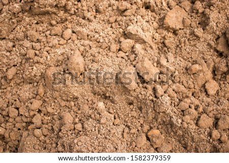 Sandy loam soil background. Crumbly soil abstract background texture for pattern, graphic design, print, abstract web design backgrounds, wallpaper or banner template Royalty-Free Stock Photo #1582379359