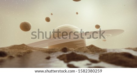 Abstract Sci Fi Huge Saturn with Galaxy Star and lake landscape background, 3d rendering.