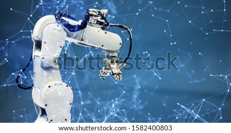 Robot arm and communication network concept. Industrial technology. INDUSTRY4.0 #1582400803