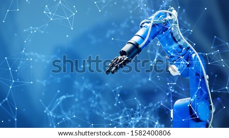 Robot arm and communication network concept. Industrial technology. INDUSTRY4.0 Royalty-Free Stock Photo #1582400806