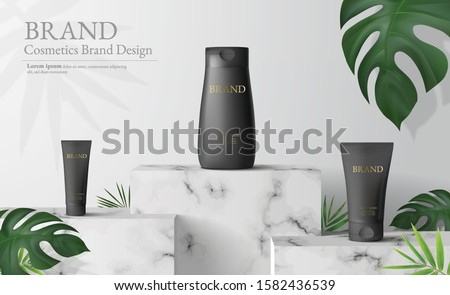 White marble Square podium in white background. decor by monstera leaves and blank Brand product mockup scene stage for ads product, sale, banner, presentation, cosmetic, offer. 3d illustration vector #1582436539