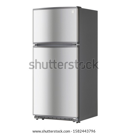 Refrigerator Isolated on White Background. Top Mount Fridge Freezer. Electric Kitchen and  Domestic Major Appliances. Front Side View of Stainless Steel Two Door Top-Freezer Fridge Freezer #1582443796