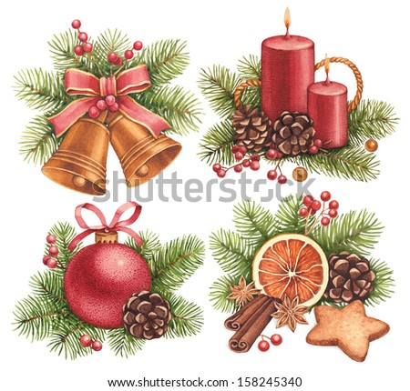 Vintage Christmas illustrations. Christmas ball, candle, bells, gingerbread cookies and decorations #158245340