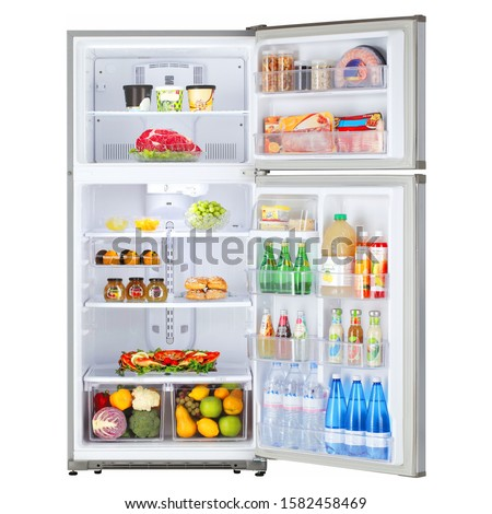 Open Refrigerator with Food Isolated on White. Front View of Stainless Steel Top Mount Fridge Freezer. Electric Kitchen and  Domestic Major Appliances. Two Door Top-Freezer Fridge Freezer #1582458469