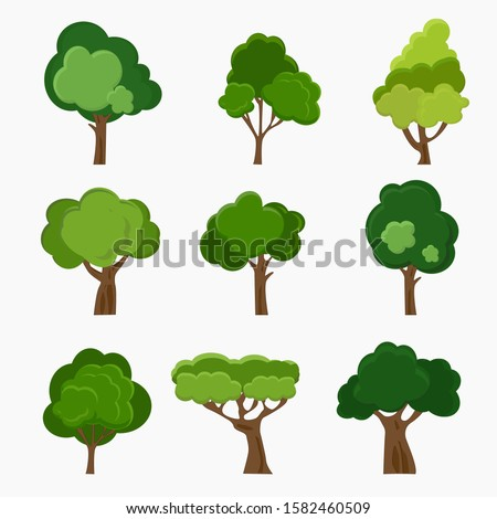 Set of deciduous trees. Hand-drawn illustration of trees. #1582460509