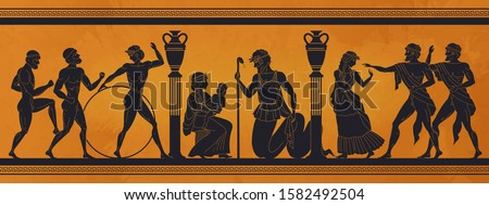 Ancient Greece mythology. Antic history black silhouettes of people and gods on pottery. Vector archeology pattern mythological culture on ceramics illustration #1582492504