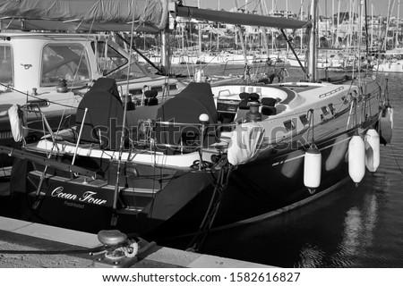 Italy, Sicily, Mediterranean sea, Marina di Ragusa (Ragusa Province); 7 December 2019, sailing boats in the port - EDITORIAL #1582616827
