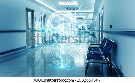 Long hospital blue corridor with digital xray brain floating in dots connections 3D rendering #1582657507