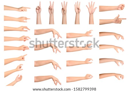 Set of Woman hands gesturing isolated  on white background.  Royalty-Free Stock Photo #1582799398