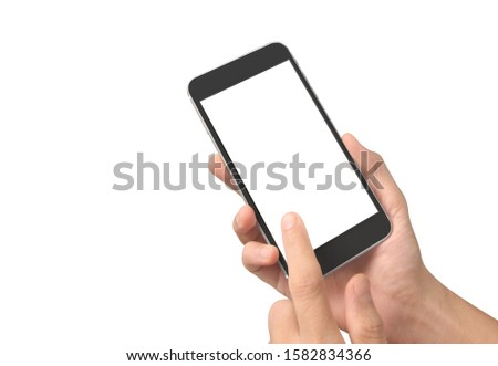 Man hand holding smartphone device and touching screen #1582834366