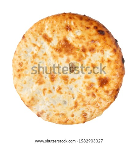 Top view of homemade dietary ossetian pie with mashed potato and mushrooms isolated on white #1582903027