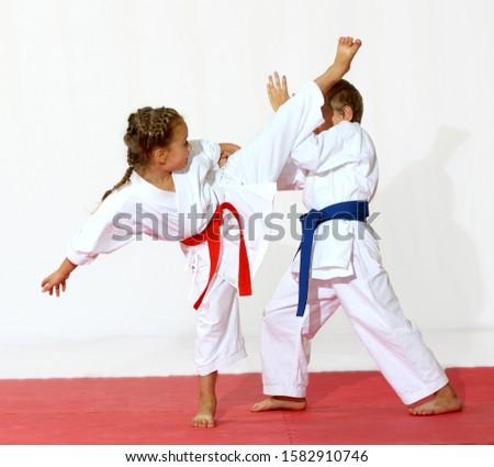 A girl with a red belt bet kick a boy with a blue belt puts a block #1582910746