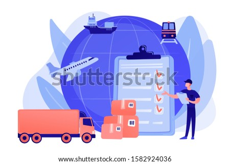 Orders worldwide shipment service agreement. Customs clearance, calculation of customs duties, professional customs clearance services concept. Pinkish coral bluevector isolated illustration #1582924036
