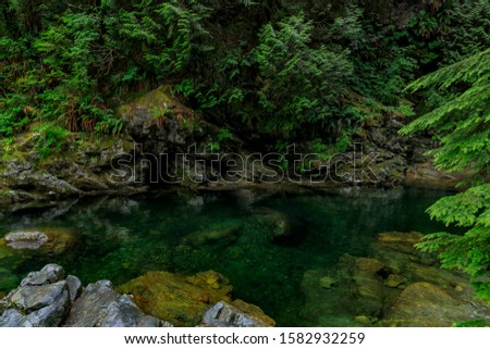 Pine trees and cloudy sky reflecting in the crystal clear water of a lake on a cloudy day in Lynn Canyon Park forest in Vancouver, Canada #1582932259
