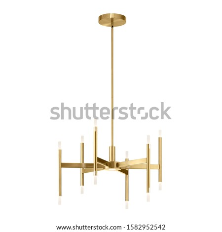 Electric 9-Light Chandelier Isolated on White Background. Metal Pendant Ceiling Light Fixture Round Shape. Antique Hanging Lights. 6 Arm Chandelier with Bright Brass Band. Pendant Sconce Lighting Lamp #1582952542