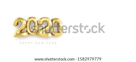 Merry Christmas greetings and Happy new year 2020 templates gold numbers on a dark blue background 3d art style banner. Clean minimalistic banner, realistic inscription. Happy New Year 2020 logo text  #1582979779