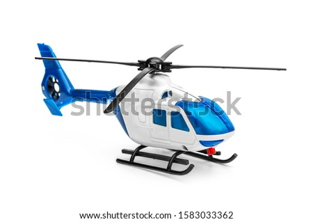 Toy of helicopter on white background.